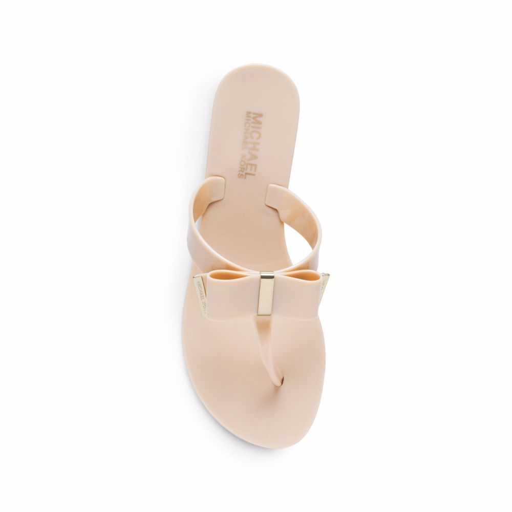 Michael Kors Metallic Kayden Peach Bow Plastic Sandals