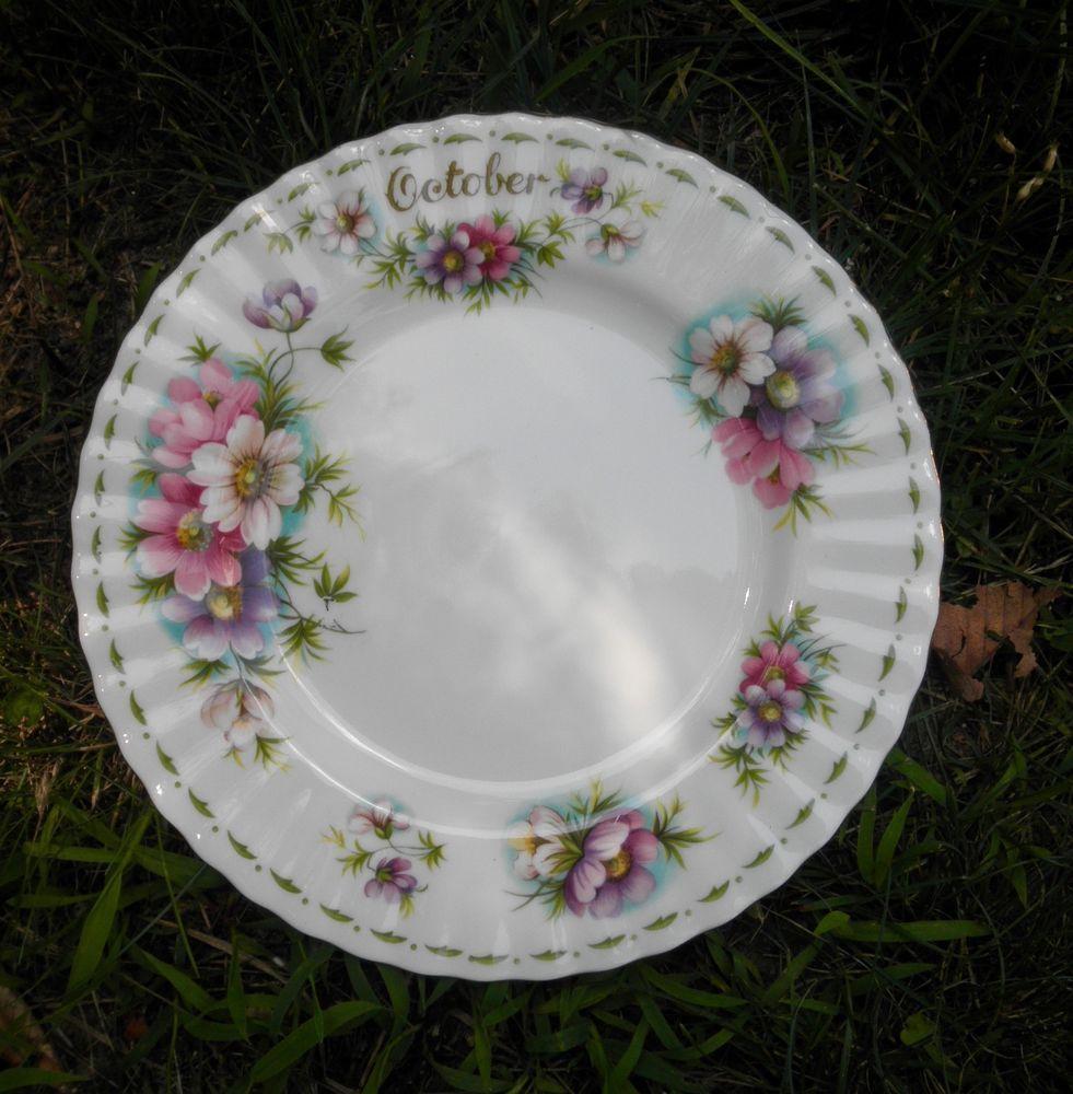 "ROYAL ALBERT FLOWERS OF THE MONTH OCTOBER ""COSMOS"" DESERT PLATE 8 1/4"" #ROYALALBERT"