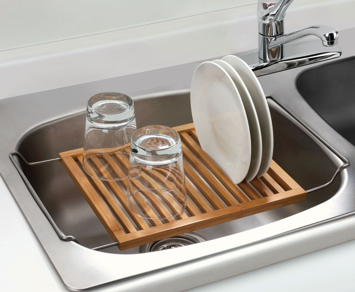 Over the sink dish drying rack in bamboo | Kitchen storage ...