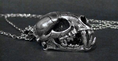 Halskette-XXL-Smilodon-Tiger-Schaedel-Gothic-Silver-Skull-Necklace-Steampunk-HC3