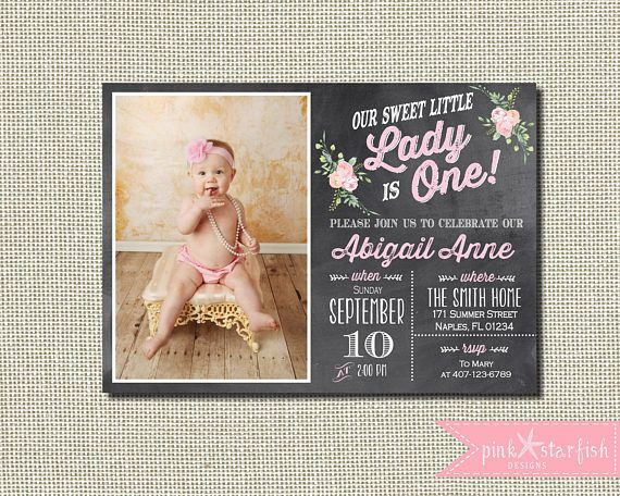 Little Lady Invitation Our Chalkboard First Birthday ETSY Pinkstarfishdesigns