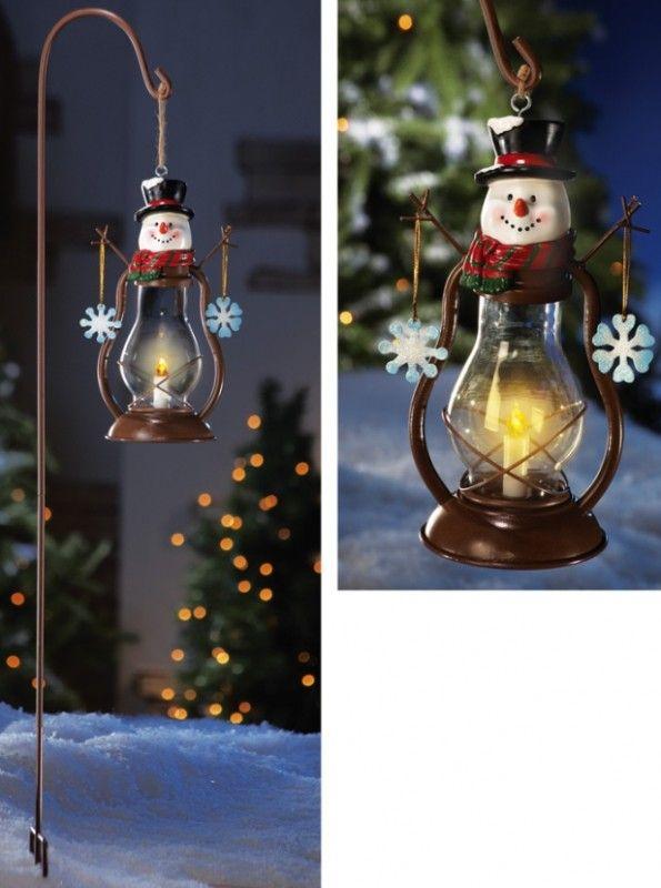 Solar Country Snowman Outdoor Garden Lantern w/ Hook CHRISTMAS - outdoor snowman christmas decorations