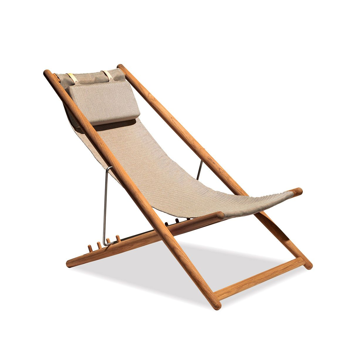 Wonderful Teak Adjustable Outdoor Sling Chair In Natural | Ihland Collection .