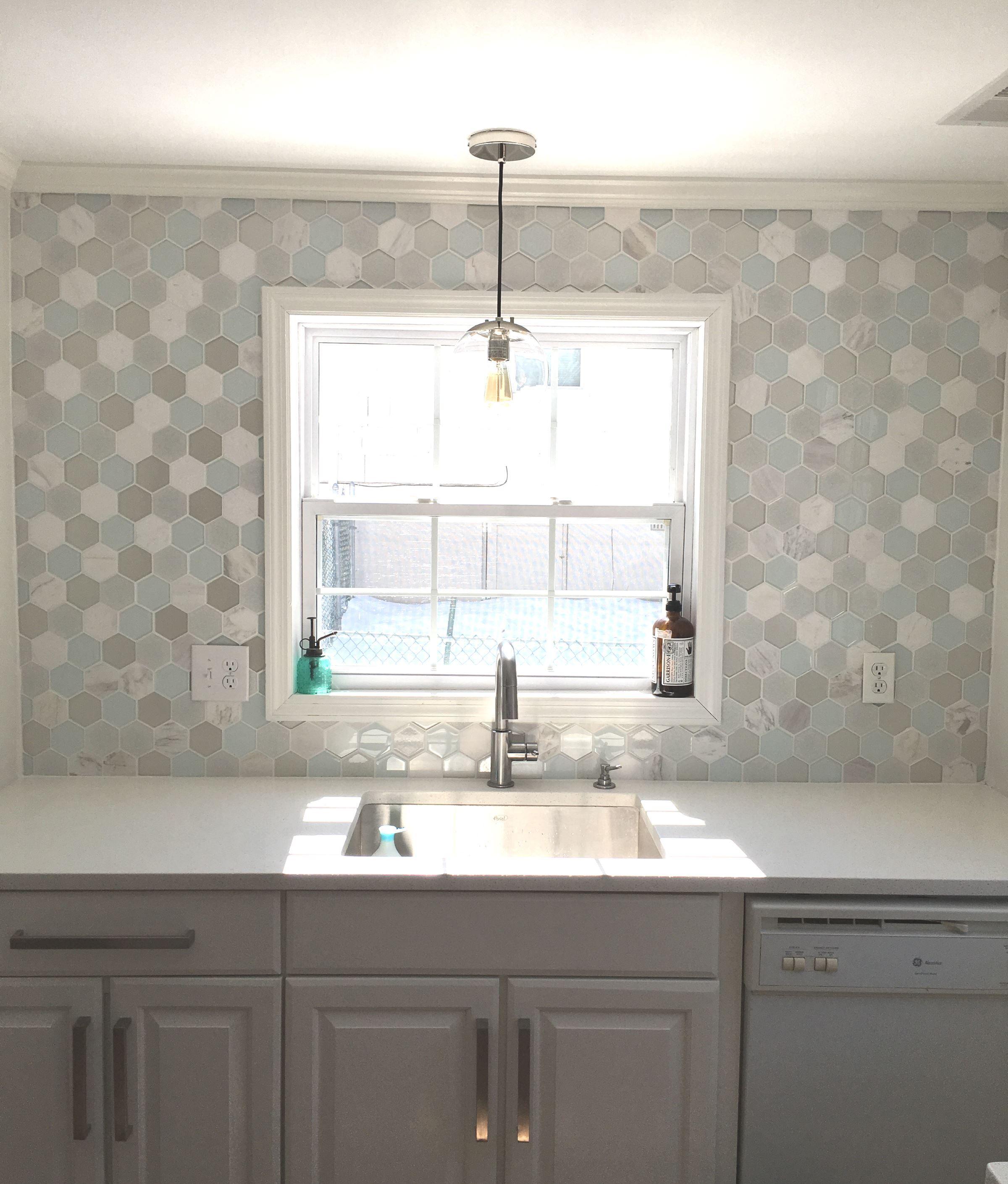 Mist Blend Hexagon Kitchen Backsplash Subway Tile Outlet From