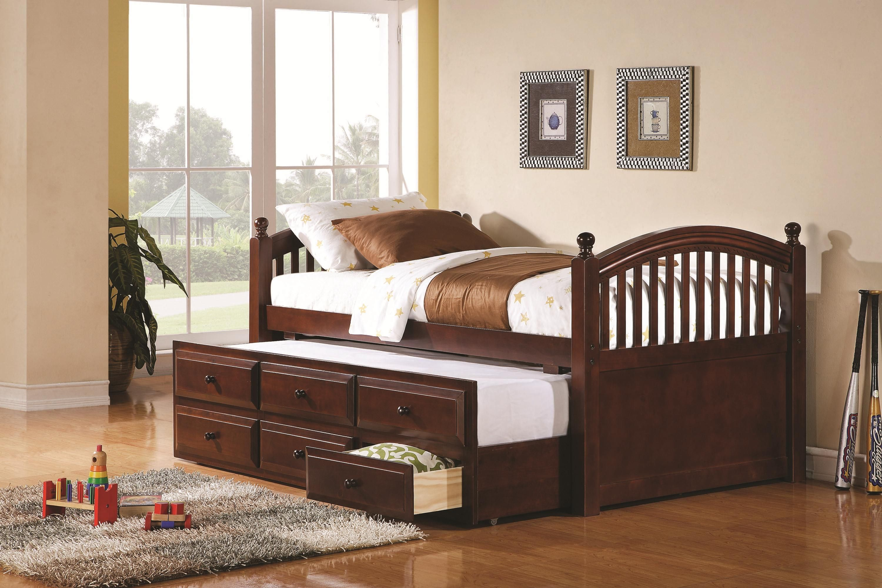 Daybeds by coaster captainus daybed with trundle and storage drawers