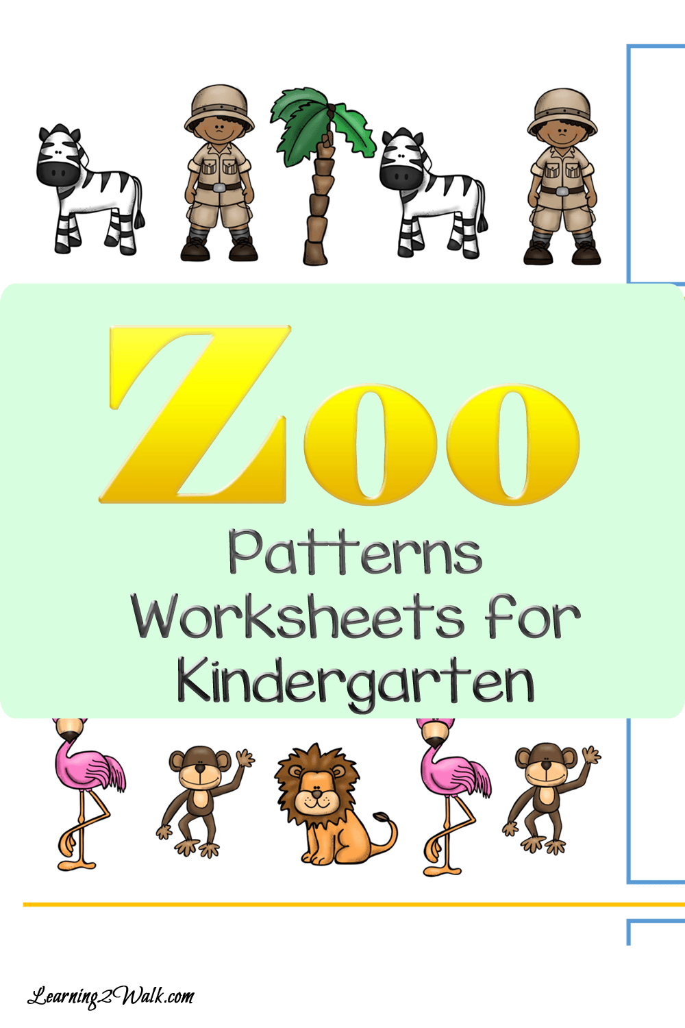 Zoo Patterns Worksheets for Kindergarten-Cut and Paste Fun ...