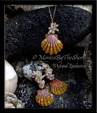 Rare Tahitian Arutua Seashells and Hawaiian Sunrise Shell Gold Earrings with Matching Necklace Set! Exclusive design for Wyland Gallery Beachwalk, Waikiki, Honolulu Hawaii.
