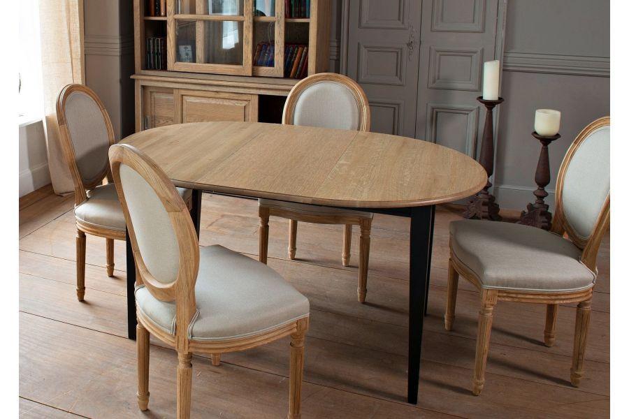 Table ronde pieds fuselés VICTORIA - bois chêne noir délavé Salles