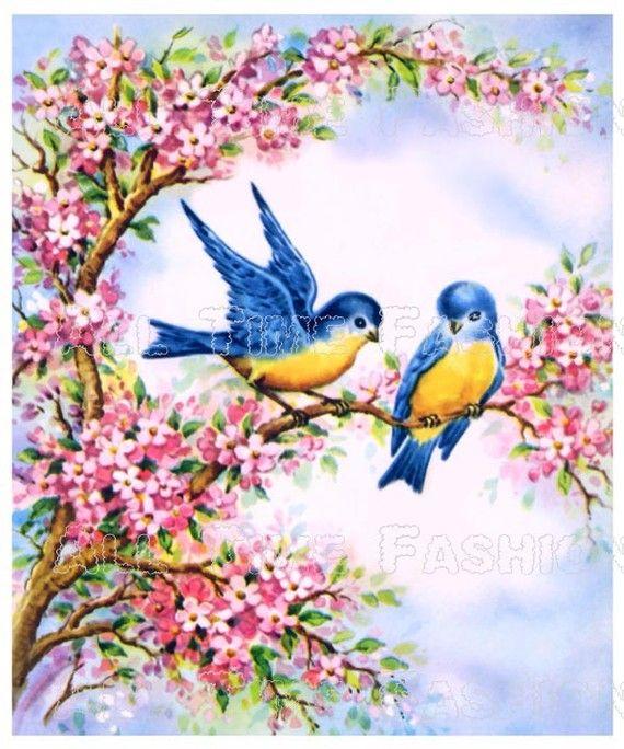 Vintage bluebirds among spring blossoms irresistible cuteness vintage bluebirds among spring blossoms vintage greeting cardsspring m4hsunfo Image collections