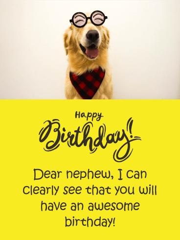 Smiling Dog Funny Birthday Card For Nephew Birthday Greeting Cards By Davia Happy Birthday Nephew Funny Funny Happy Birthday Wishes Birthday Card For Nephew