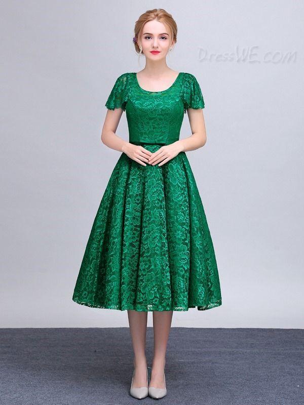 Vintage Short Sleeve Tea Length Lace Prom Dress  2b35611cb813