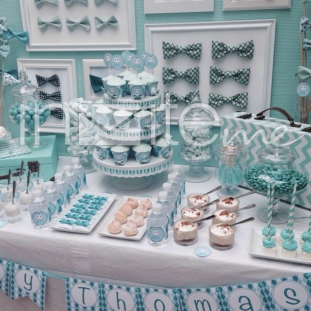Blue Baby Shower Candy Buffet Part - 50: Beautiful Blue Turquoise Baby Shower Dessert Table