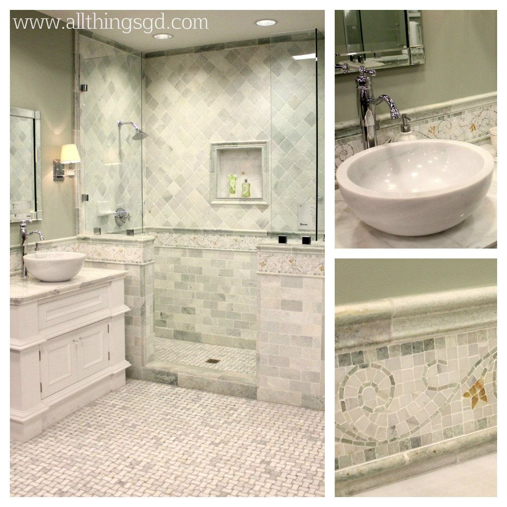 This gray and white tile and marble bathroom is perfection - right ...