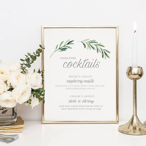 Signature Cocktail Sign Wedding Cocktail Sign Wedding Bar Sign Signature Cocktails Editable Wedd Wedding Bar Menu Template Bar Menu Wedding Wedding Bar