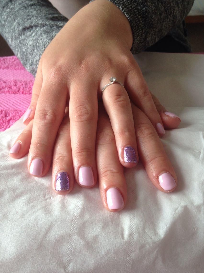 Shellac nails baby pink and purple glitter X