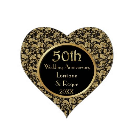 Gold Floral Elegance 50th Wedding Anniversary Stickers