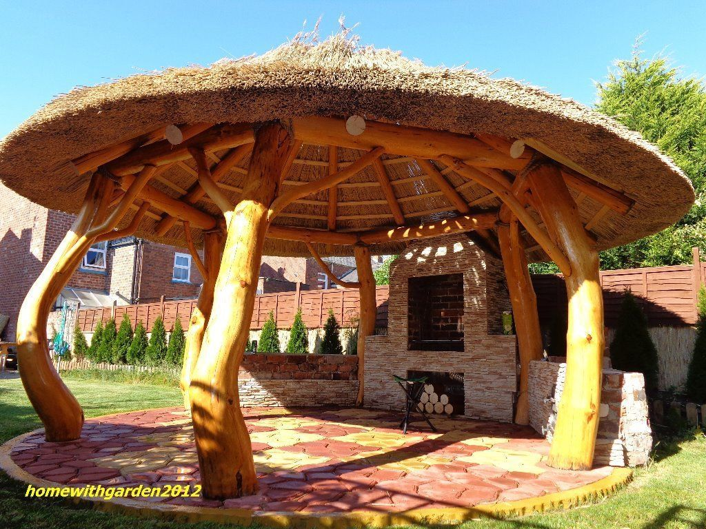 Thatched Gazebo Summer House Log Cabin Garden Furniture