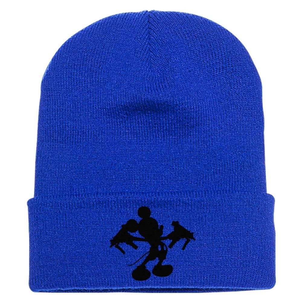 Mickey With Guns Embroidered Knit Cap