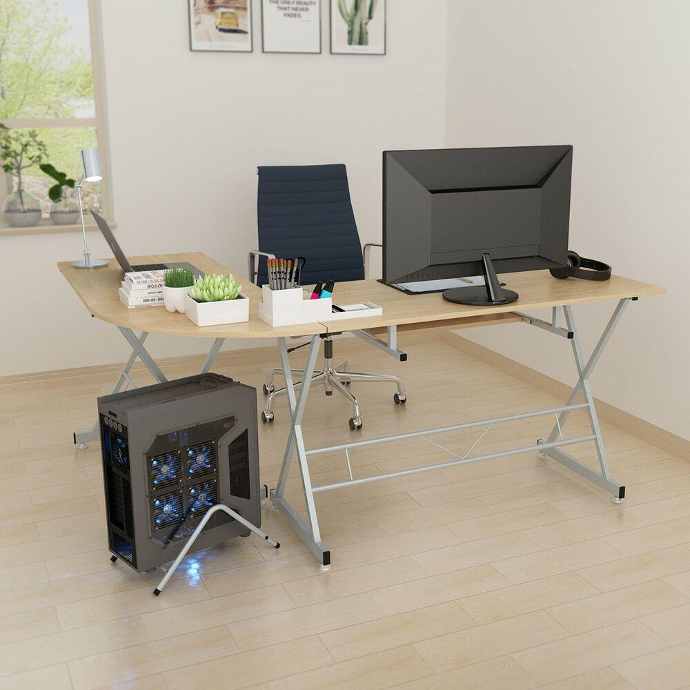Office Deskorganization: L-Shaped Home Office Corner Desk PC Gaming Table Laptop