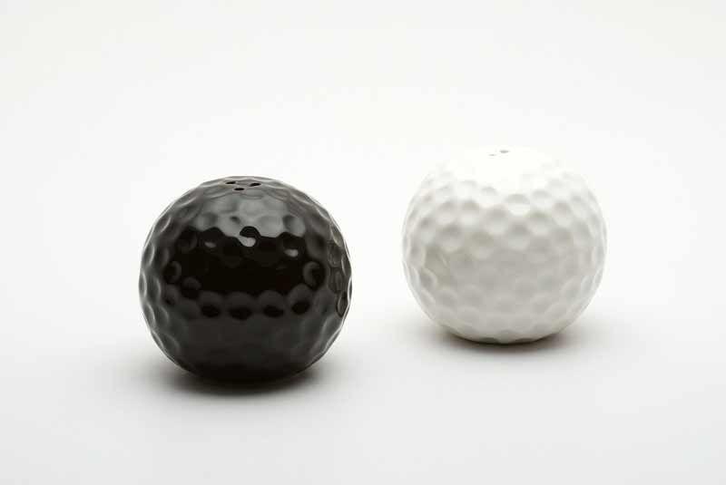 Red Vanilla Golf Ball Salt and Pepper Shakers
