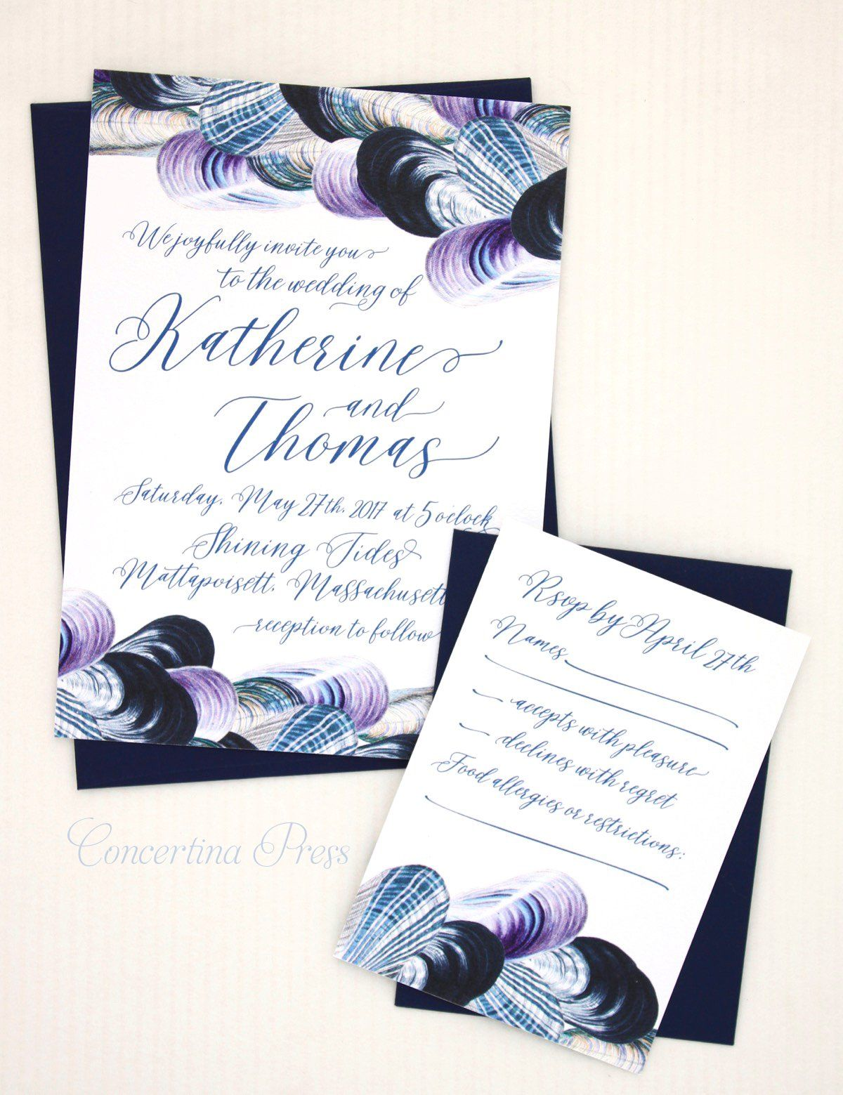 Mussel Shell Beach Wedding Invitations Beach Wedding Invitations