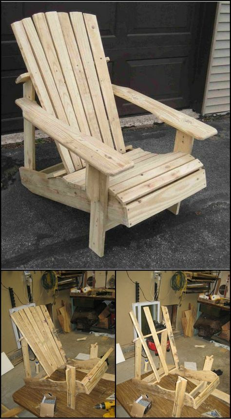 recycled pallets turned into an adirondack chair work builds pinterest m bel st hle und. Black Bedroom Furniture Sets. Home Design Ideas