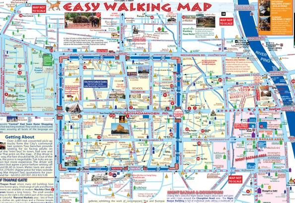 Easy Walking Map and highlights around chiang mai Thailand Trip
