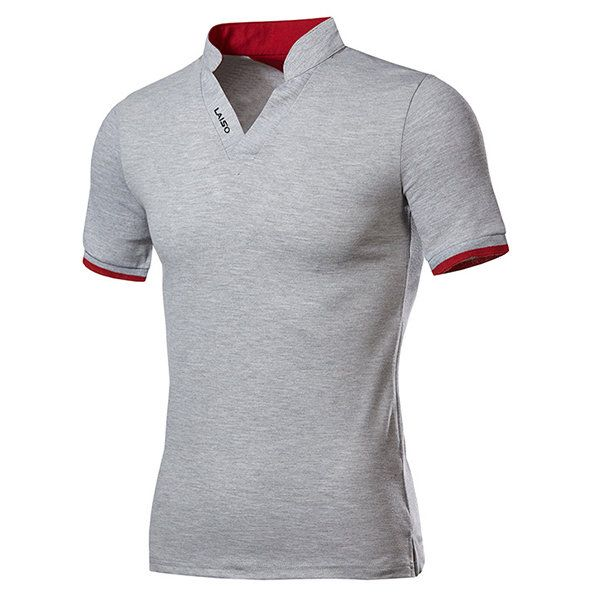 Mens Fashion Chinese Collar V-neck Solid Color Short Sleeve Casual T-shirt 1fa8dfc4d7f