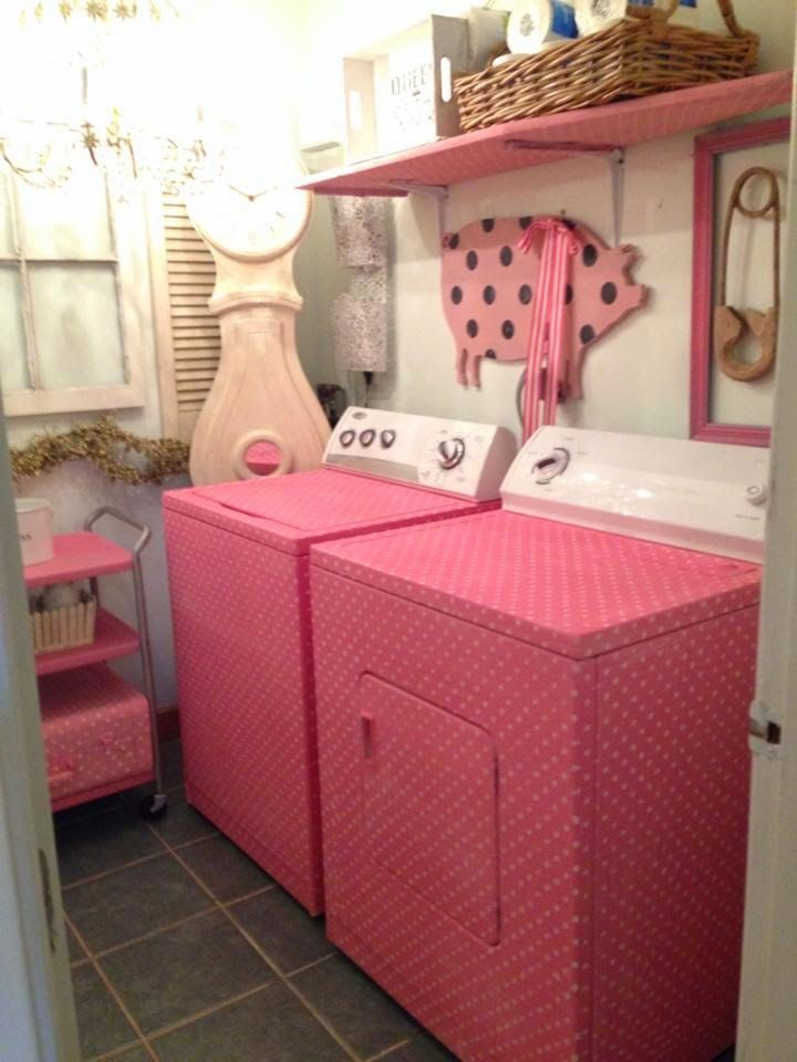 Pink Polka Dotted Washer And Dryer Laundry Room Design Laundry Room Decor Laundry Room Makeover