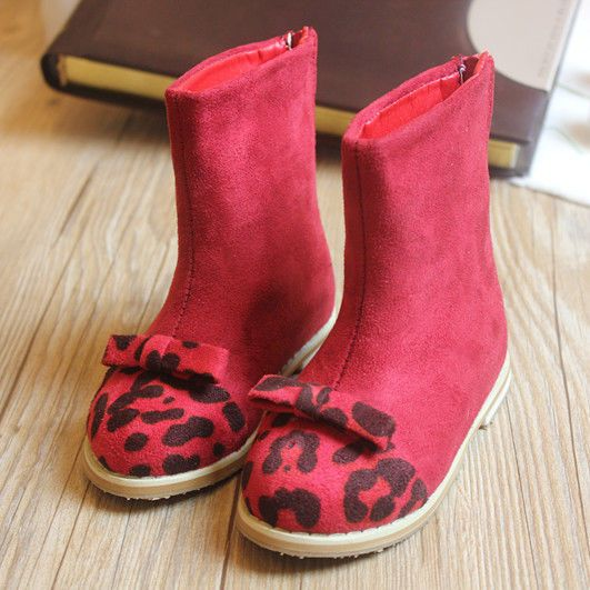 Kids Toddlers Girl Fashion Leopard Fleece Lined Warm Snow Boots Shoes X021
