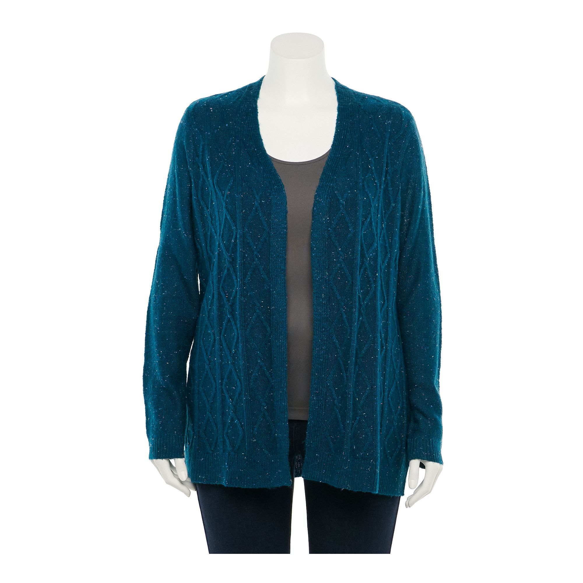 Plus Size Napa Valley Nep Cable-Knit Cardigan, Women's, Size: 3XL, Blue
