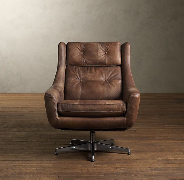 Motorcity Leather Swivel Chair Distressed Whiskey - Motorcity Leather Swivel Chair Distressed Whiskey Furnish
