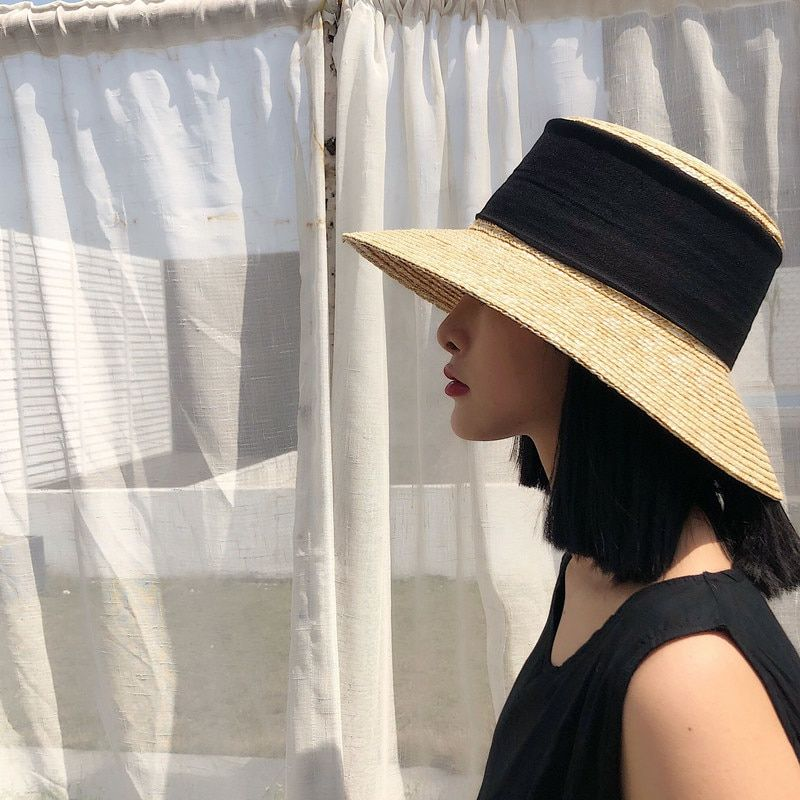 8fc0d3bf44 [La MaxPa] Handmade Wheat Straw Hat Wide Brim Nature Straw Sun Big Black  Ribbon Women Summer Beach Boater Hats