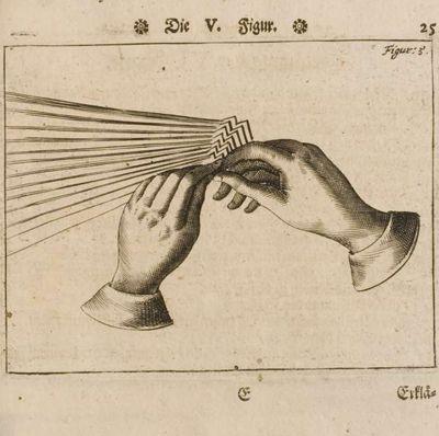 """Napkin Folding Technique, George Philipp Harsdörffer, 1657. La stupefacente arte barocca della plissettatura """"narrativa"""" delle tovaglie secondo il libro delle buone maniere a tavola di George Philipp Harsdörffer (1657)."""