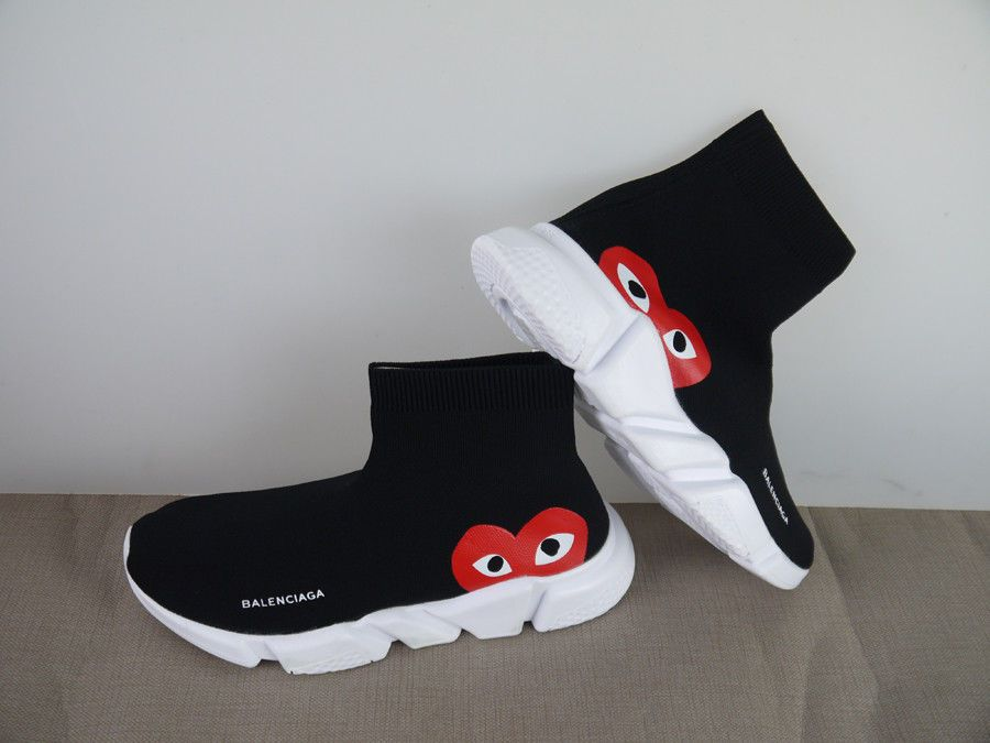Trainer Sock White Play Red 8 Cdg Size Speed Balenciaga X Knit Black Pwn0O8kX