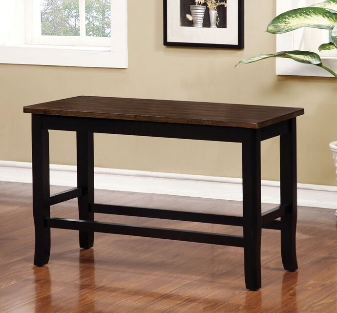 a48d45ff013f3 Dover collection two tone black and cherry finish wood counter height dining  bench. Measures 38