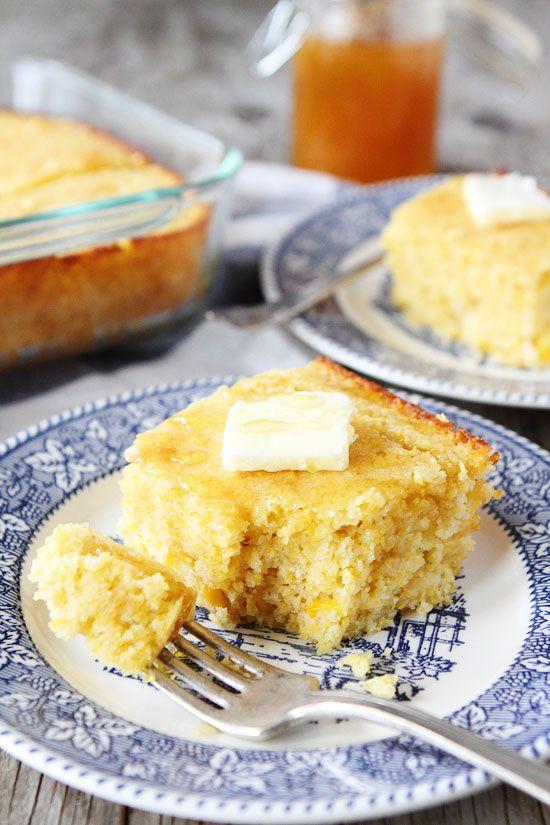 Easy Cornbread Recipe on twopeasandtheirpod.com The BEST cornbread recipe and it's super easy to make!
