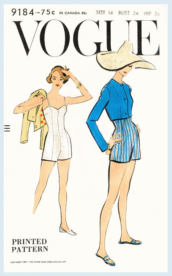 1950s 50s vintage swimsuit sewing pattern beach swimwear one piece ...