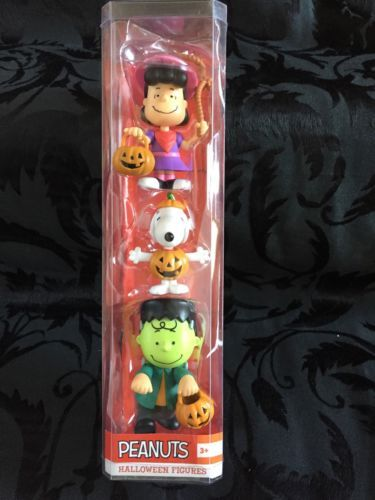 2015-PEANUTS-Snoopy-Charlie-Brown-Lucy-Halloween-Figures-Sealed-3-Pack