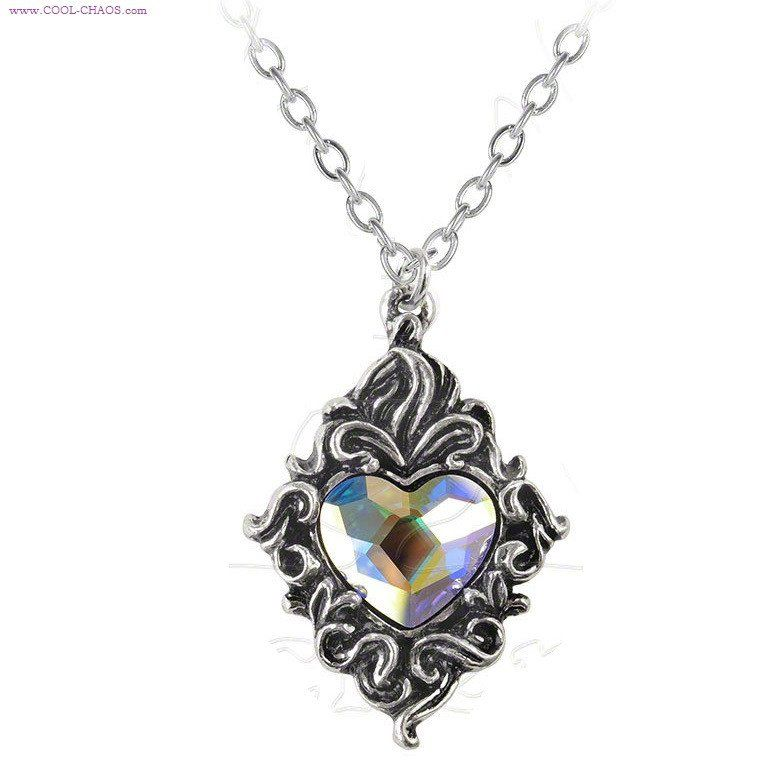 Pewter & Crystal Heart Necklace Pendant
