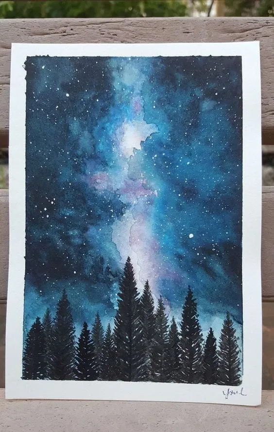 31 Easy Watercolor Art Ideas For Beginners In 2020 Galaxy Painting Watercolor Night Sky Night Art