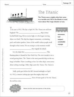 The Titanic Quick Cloze Passage Grades 4 6 Printables Cloze Passages Printable Lesson Plans Titanic