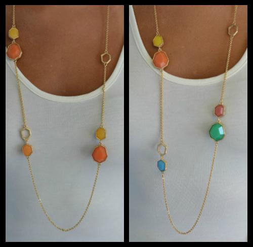 Long Jewel Necklace, 2 Colors