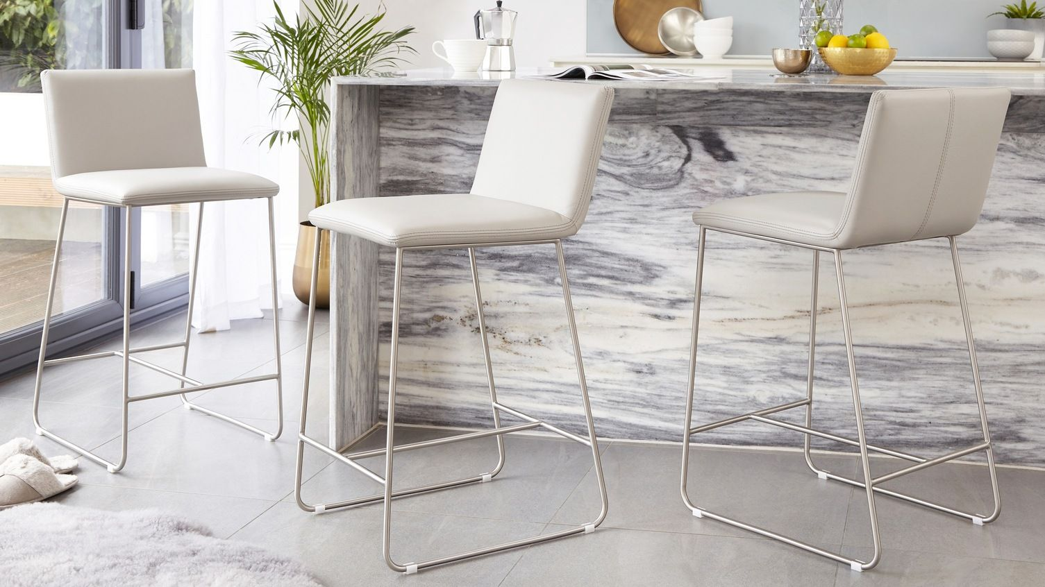 Tia Real Leather Bar Stool Bar Stools Designer Bar Stools