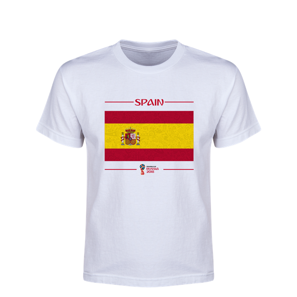 Spain 2018 FIFA World Cup Russia™ Flag Youth T-Shirt (White)