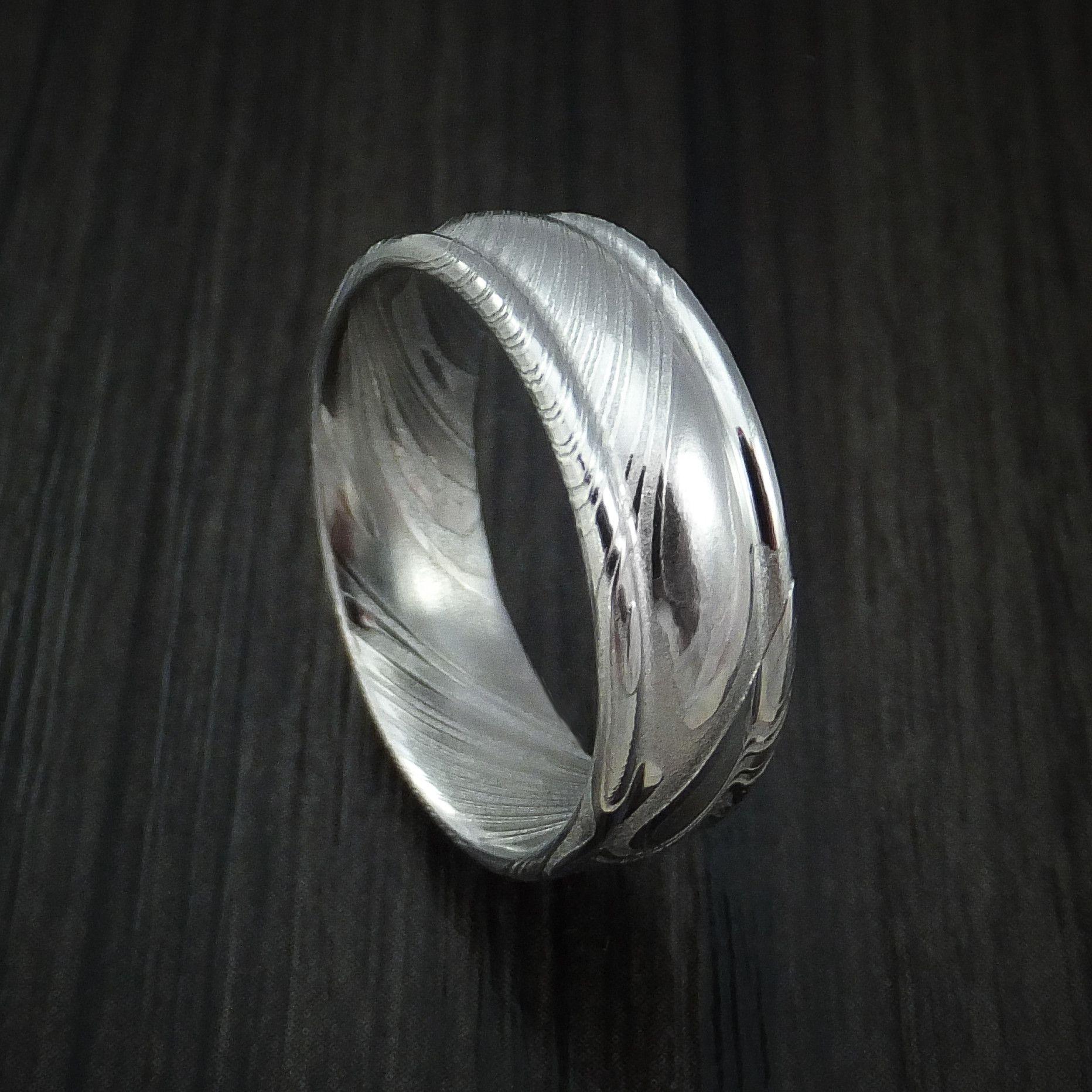 Kuro Damascus Steel Ring Custom Made Wedding Band Damascus Steel Ring Damascus Steel Wedding Bands