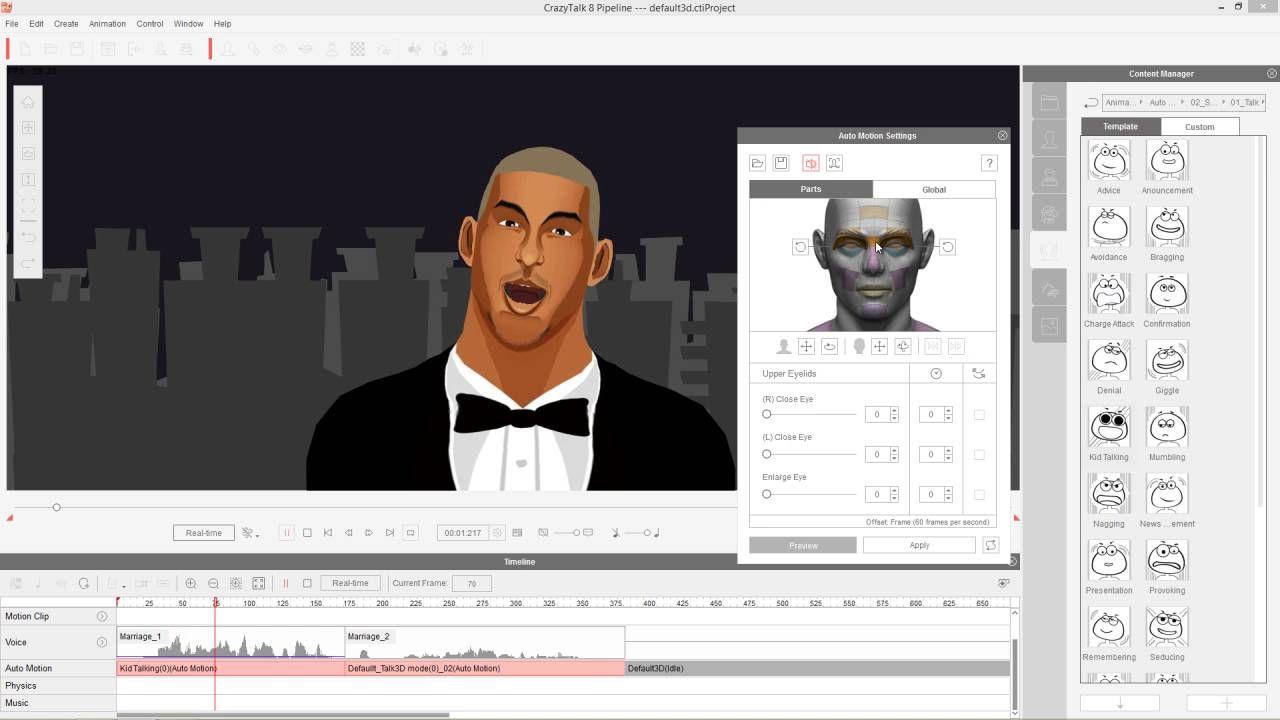 CrazyTalk 8 Tutorial - Auto Motion for Custom Talking Scenarios