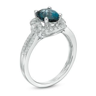 Oval London Blue Topaz And 1 3 Ct T W Diamond Frame