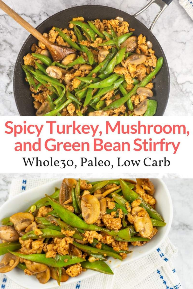 Spicy Turkey, Green Bean, and Mushroom Stirfry images