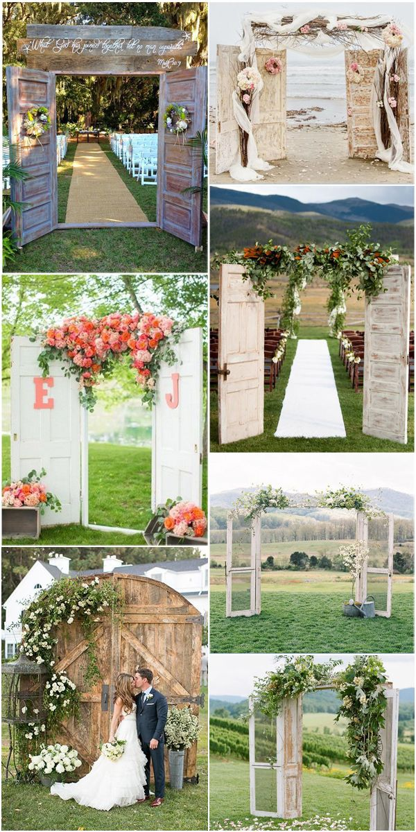 Attractive Old Door Inspired Rustic And Vintage Wedding Arch Decorations